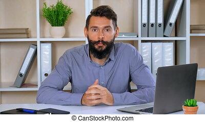 portrait business man giving interview or presentation