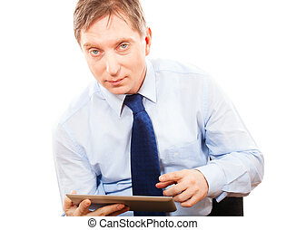 Portrait businessman holding tablet pc