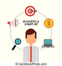portrait businessman laptop money megaphone target and magnifier