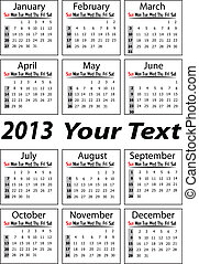 portrait calendar 2013 vector