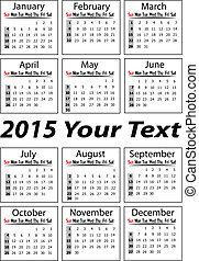 Portrait calendar for 2015 Year in vector format