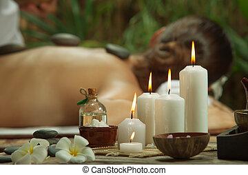 portrait, candles., spa, concentré, belle femme, environment., jeune