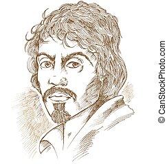 portrait., caravaggio, vector, mano, dibujado