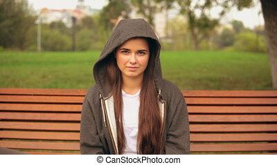 portrait caucasian girl outdoors