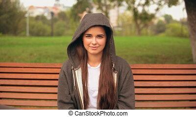 portrait caucasian happy girl outdoors