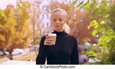 portrait caucasian woman in autumn city - happy girl with...