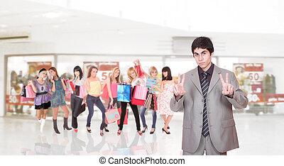 portrait, centre commercial, vendeur, achats