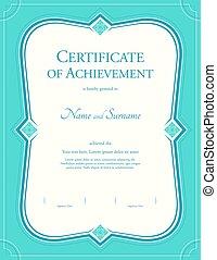 portrait, certificat, de, accomplissement, gabarit, dans, vecteur, à, appliqué, thaï, art, fond, vert, couleur