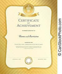 Portrait certificate of achievement template in vector with applied Thai art background, gold color