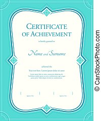 portrait certificate of achievement template in vector with applied thai art background green color - Certificate Of Accomplishment Template