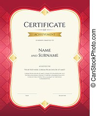 Portrait certificate of achievement template in vector with applied Thai art background, red color