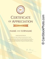 Portrait certificate of appreciation template with award ribbon on abstract ribbon background