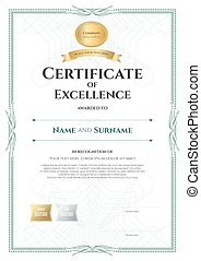 Portrait certificate of excellence template with award ribbon on abstract guilloche background with vintage border style