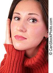 portrait, chandail, girl, rouges