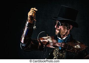 portrait, chapeau, vieux, retro, futuriste, observer, porter, homme, sommet, montre, complet