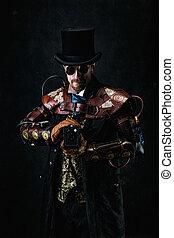portrait, chapeau, vieux, tenue, retro, futuriste, appareil photo, porter, homme, sommet, complet