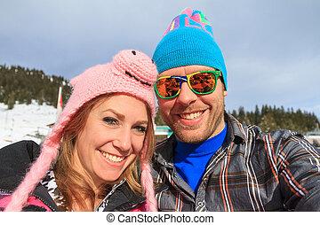 portrait, chapeaux, vacances hiver, rigolote