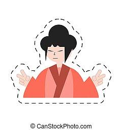 portrait character japanese woman attire costume