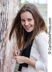 Portrait charming smiling woman
