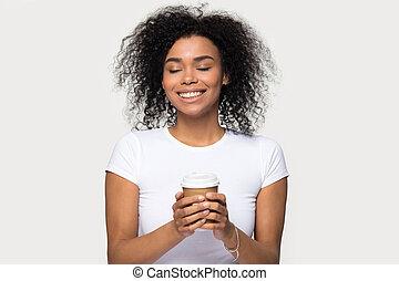 portrait, chaud, headshot, boisson, café, jouir de, ...