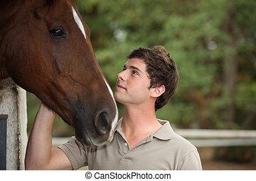 portrait, cheval, jeune homme