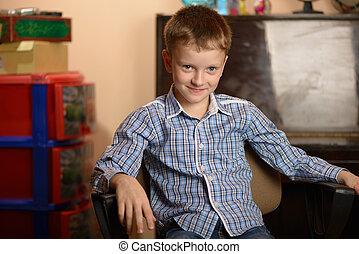 Portrait child expressing different emotional