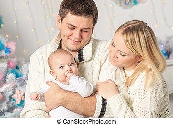 portrait, christmas.., famille, heureux