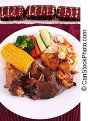 Portrait Christmas l - A roast lamb dinner with vegetables...