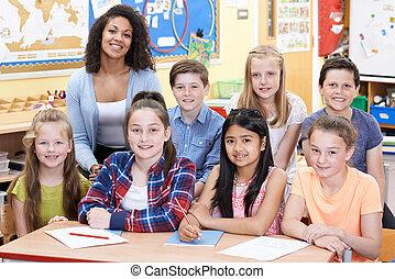 portrait, classe, élèves, prof