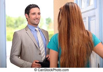 portrait, client, vendeur