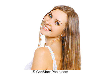 Portrait close-up beautiful young smiling woman with long hair and cute smile on white background