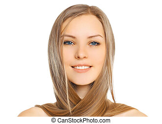 Portrait close-up beautiful young smiling woman with long hair isolated on white background