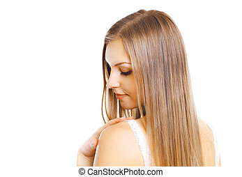 Portrait close-up beautiful young woman with long hair isolated on white background