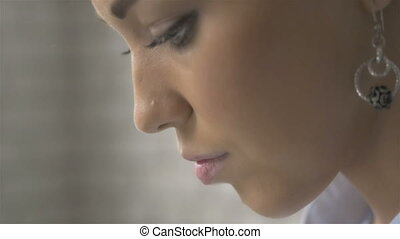 Portrait Close Up Profile of Beautiful Woman Using Laptop