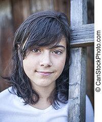Portrait close up teen girl outdoors.
