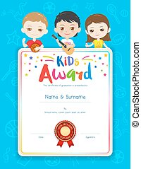 Colorful kids summer camp diploma certificate template in portrait colorful kids award diploma certificate template in cartoon style with happy boy and girl yadclub Gallery
