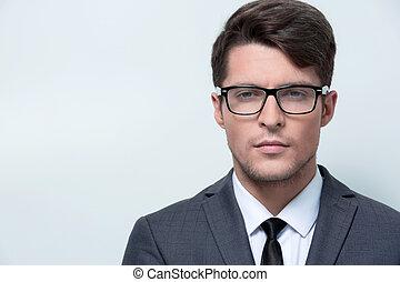 portrait, confiant, jeune, businessman.