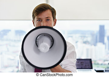 Portrait Confident Business Man With Megaphone In Office