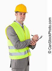 portrait, constructeur, presse-papiers, sourire, tenue