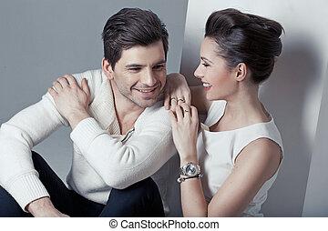portrait, couple, aimer