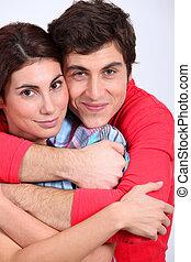 portrait, couple, amour, heureux