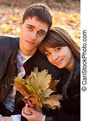 portrait, couple, amour, jeune, heureux