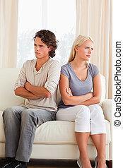 portrait, couple, après, argument