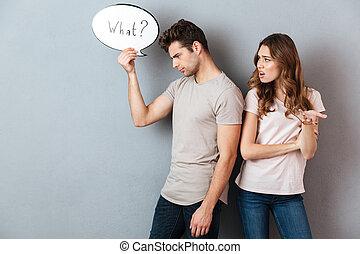 portrait, couple, avoir, argument, jeune