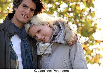 portrait, couple, bois