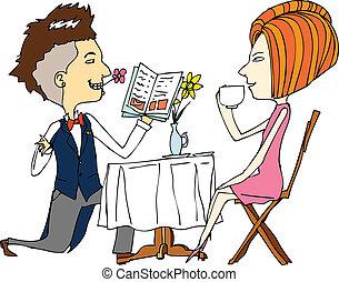 portrait, couple, café