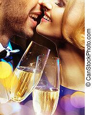 portrait, couple, champagne, closeup, boire