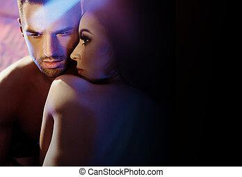 portrait, couple, closeup, gai, séduisant