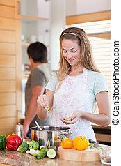 portrait, couple, cuisine