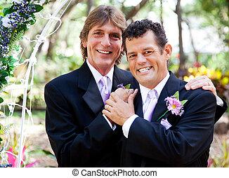 portrait, couple, -, gay, mariage